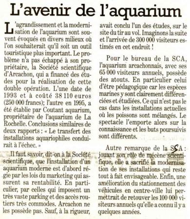 Un article paru dans Sud Ouest le 18 janvier 2005