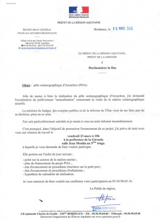 Lettre du Prfet