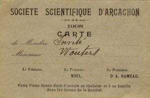 Carte de membre invité de la Société scientifique d'Arcachon