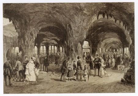 Aquarium in The Trocadero Park at the World Fair in Paris, 1878, woodcut, from : L'Illustration, LXXI, n° 1842, 1878, p. 392.