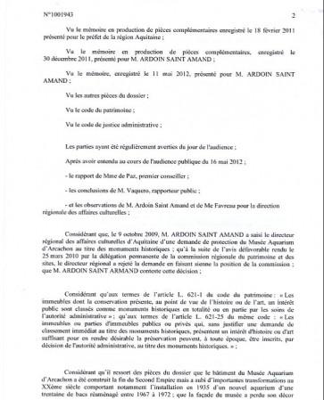 Décision du tribunal administratif 2
