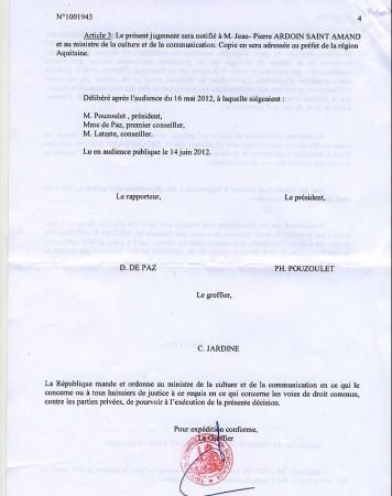Décision du tribunal administratif 4